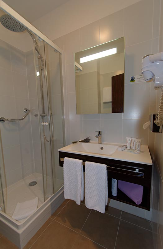Salle de bain chambre confort de l'Hôtel Villa Borghese à Gréoux-les-Bains (04800)