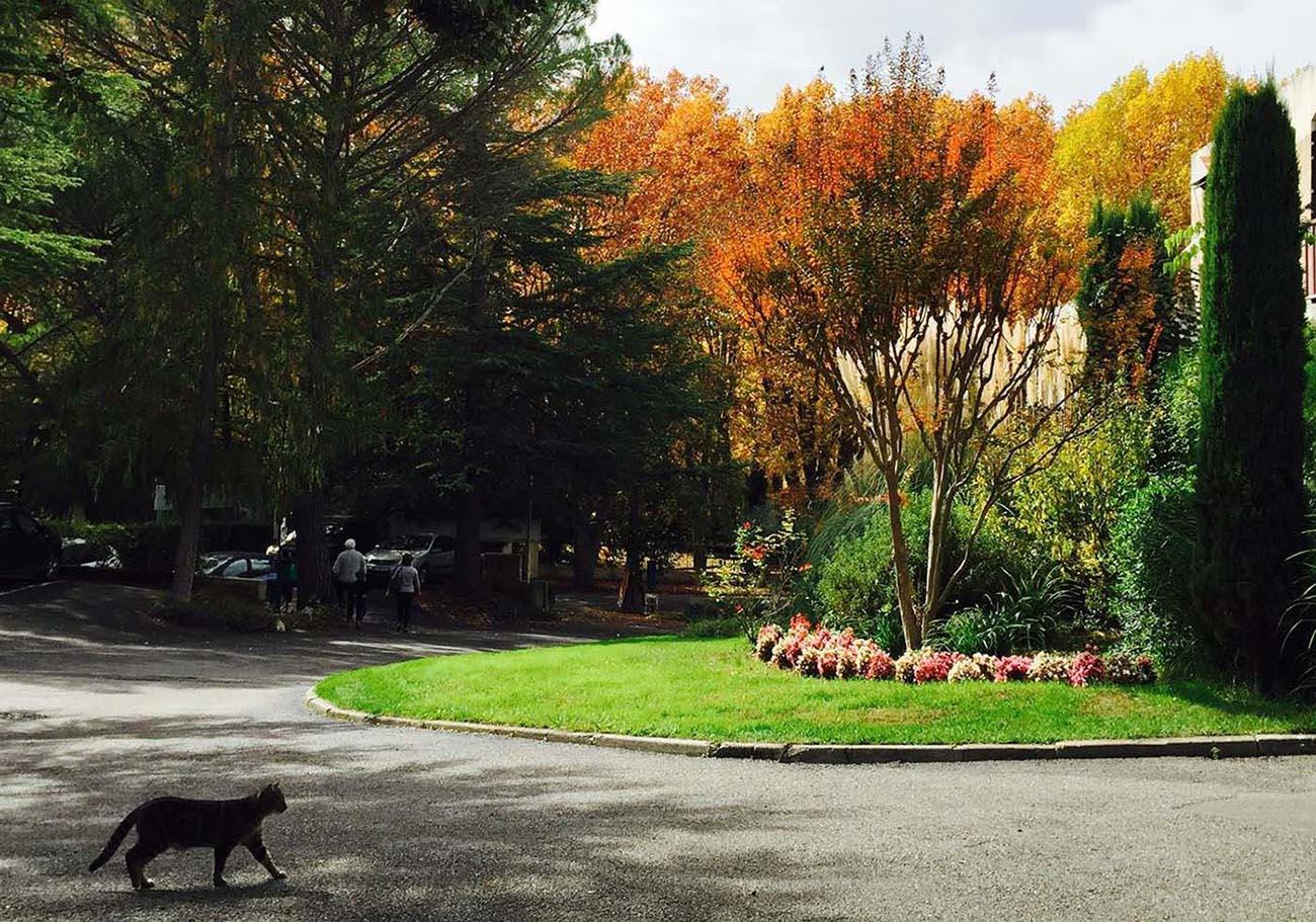 Entrée du parc de l'Hôtel Villa Borghese à Gréoux-les-Bains (04800)